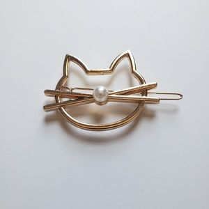 Accessories - Gold Tone Cat Hair Clip Barrette